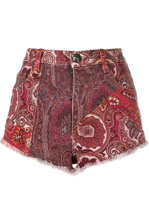 Etro Shorts de mezclilla con motivo de cachemira