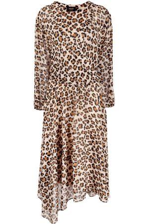 LIU JO Vestido asimétrico con motivo de leopardo