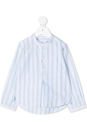 KNOT Striped collarless shirt