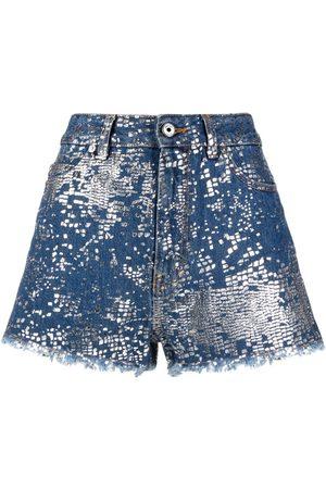Roberto Cavalli Shorts de mezclilla con estampado