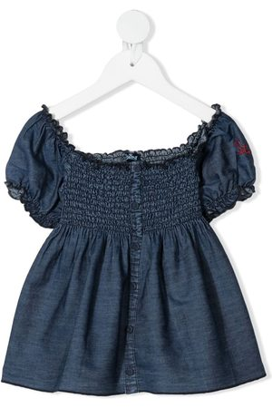 MC2 SAINT BARTH Denim smocked blouse
