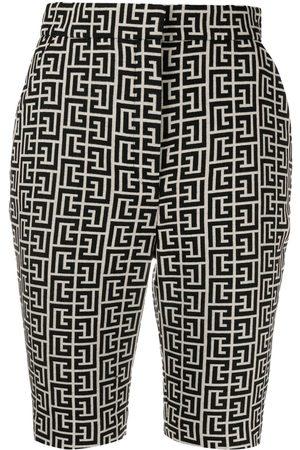 Balmain Shorts con monograma en jacquard