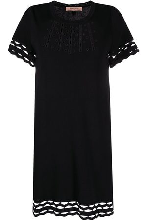Twin-Set Perforated-detail shift dress