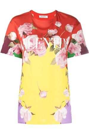 VALENTINO Camiseta con estampado floral y logo
