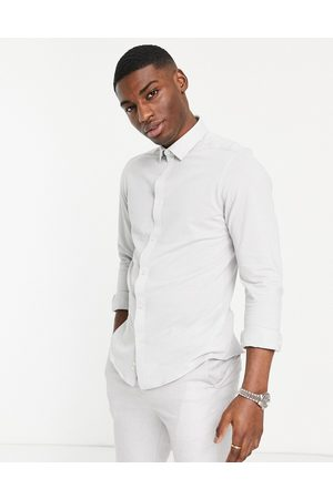 Harry Brown Hombre Camisas - Pique slim fit shirt in light grey
