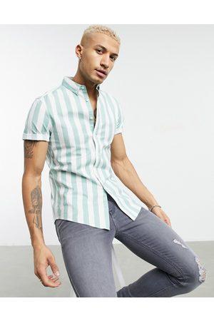 ASOS Stretch slim oxford stripe shirt in green