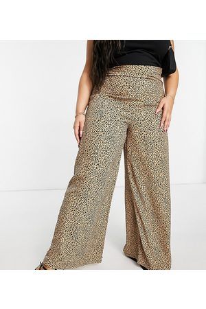 Glamorous Wide leg high waisted trousers in leopard print