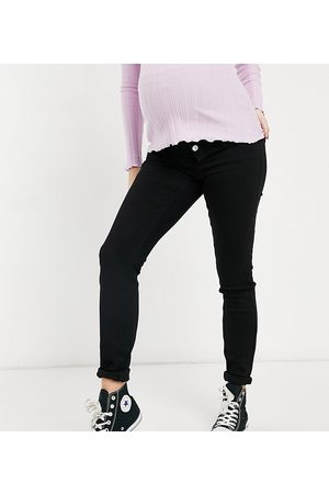 Pieces Maternity Skinny jeans with bump band in black