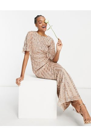 Maya Flutter sleeve all over patterned sequin maxi dress in taupe blush