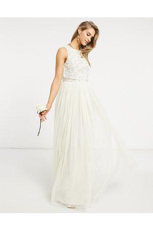 Maya Bridal 2 in 1 maxi tulle dress with tonal delicate sequin in ecru