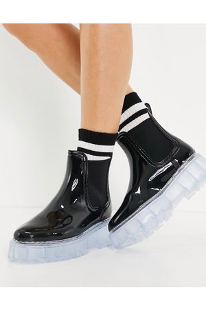 ASOS Gadget chunky chelsea wellies in black with clear sole