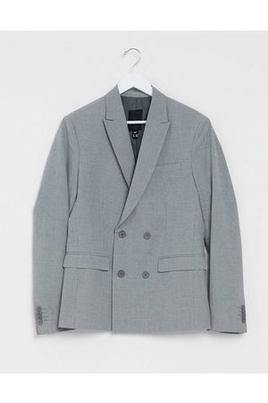 New Look Slim double breasted blazer in grey