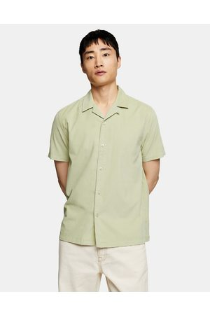 Topman Short sleeve micro cord shirt in green