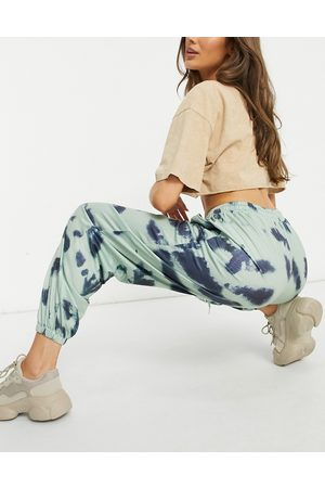 Love & Other Things Tie dye joggers in green & blue