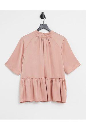 ASOS High neck short sleeve peplum smock in pink