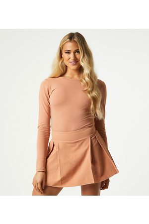Outrageous Fortune Exclusive pleated mini skort in camel