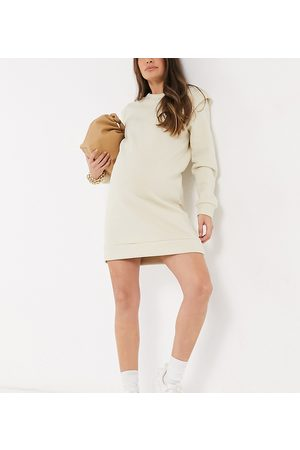 Pieces Maternity Sweat dress with padded shoulder in cream