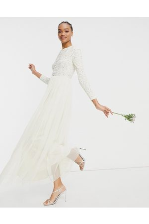 Maya Bridal long sleeved maxi dress with delicate sequin and tulle skirt in ecru