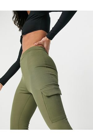 I saw it first Ribbed cargo joggers in khaki