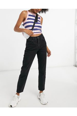 Noisy May Premium Isobel mom jeans with high waist in black