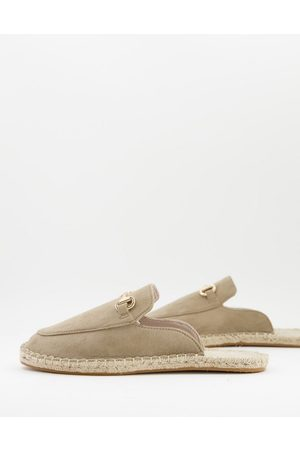 ASOS Slip on mule espadrilles in stone faux suede with snaffle