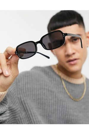 ASOS Recycled frame square sunglasses in black with solid black lens