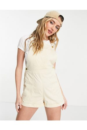 ASOS Twill dungaree playsuit in ivory
