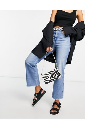 Wrangler Cropped raw hem mom jeans in mid wash