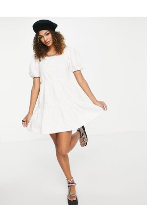Urban Bliss Smock mini denim dress in ecru
