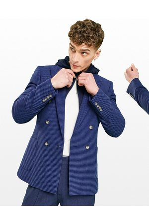 ASOS Super skinny double breasted wool mix blazer with puppy tooth in navy