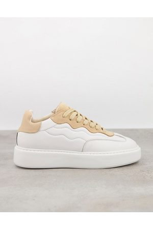 Selected Femme chunky trainer in white and pink