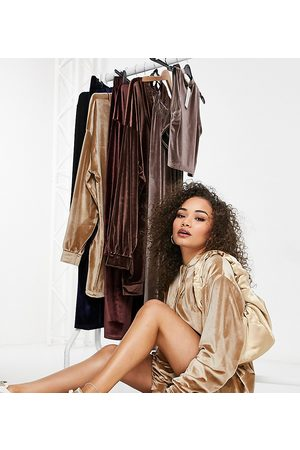 Fashionkilla Exclusive velour oversized hoodie dress with drawstring detail in camel