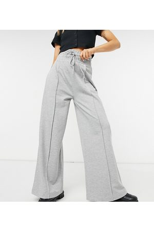 Collusion 90's dad wide leg seam front joggers in grey marl