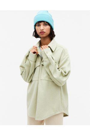Monki Bennie pocket over shirt shacket in green