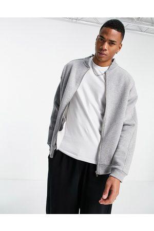 ASOS Oversized jersey bomber jacket in grey marl