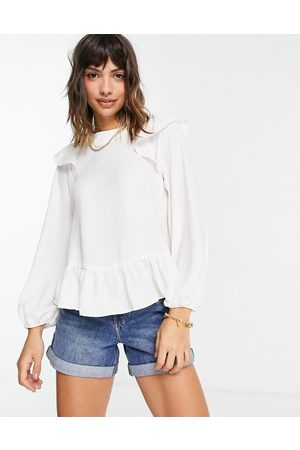 ASOS Long sleeve top with ruffle detail in ivory