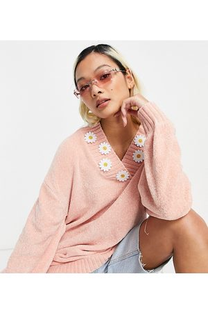 Native Youth Super cute oversized jumper with daisy trim