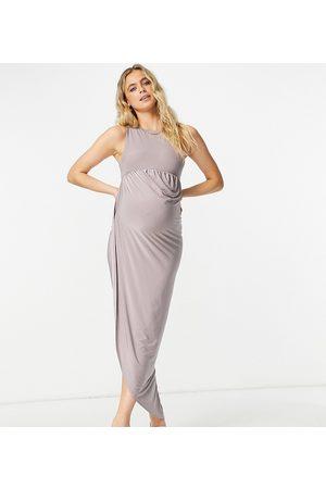 Club L Club L London Maternity asymmetric wrap midaxi dress in mauve