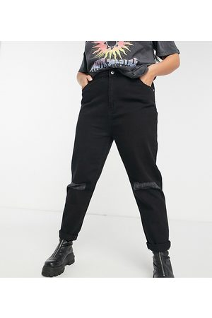 Wednesday's Girl High waist mom jeans with distressed knees in black wash denim