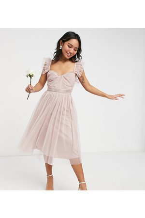 Anaya Petite Anaya With Love Petite Bridesmaid tulle frill sleeve midi dress in pink