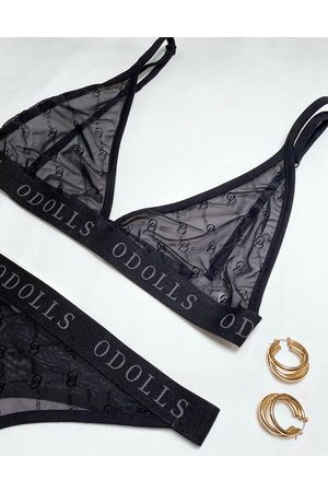 The O Dolls Collection ODolls Collection sheer motif bralet in black