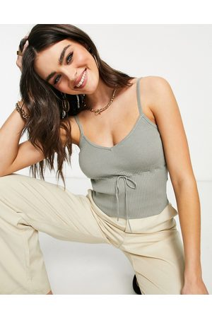Fashion Union Knitted cami crop top in rib with bow detail co