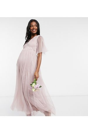 ANAYA Anaya With Love Maternity Bridesmaid tulle flutter sleeve maxi dress in pink