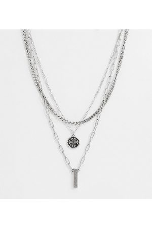 Reclaimed Vintage Inspired multirow necklace with roman medallion