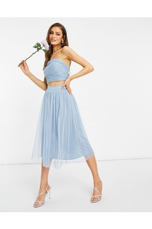 ANAYA With Love Bridesmaid tulle midi skirt co ord in soft blue