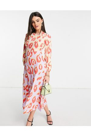Closet Mujer Casuales - Long sleeve spot print midaxi dress in contrast pastel