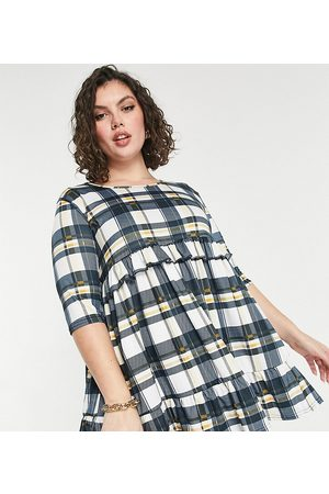 Yours Exclusive mini smock dress in blue check
