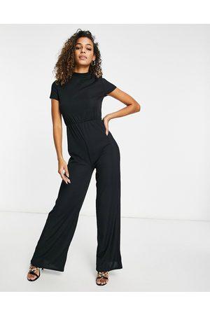 Club L High neck wide leg jumpsuit in black