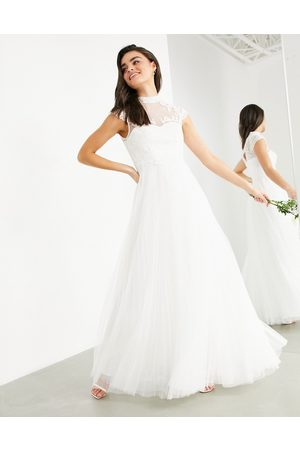 ASOS Bronte embroidered bodice wedding dress with cap sleeve