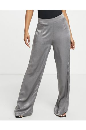 Outrageous Fortune Wide leg trousers in charcoal satin